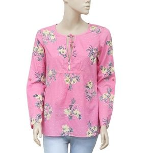 Lilly Pulitze Floral Printed Tie Knot Pink Top M